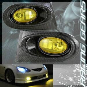 YELLOW LENS CARBON FIBER STYLE FOG DRIVING BUMPER LIGHTS FIT 02-04 ACURA RSX DC5