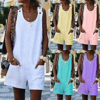 Women Dungarees Short Jumpsuit Romper Summer Casual Overalls Playsuit Plus Size