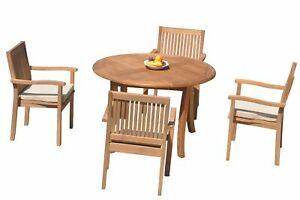 """5pc Grade-A Teak Dining Set 48"""" Round Table 4 Leveb Stacking Arm Chairs Outdoor"""