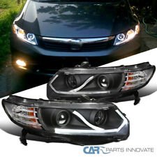 LED Bar Black Fit 06-11 Honda Civic 2Dr Coupe Driving Lamp Projector Headlights