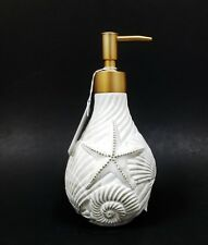 NEW OFF WHITE RESIN 3D STAR FISH,CLAM SHELL,ANTIQUE GOLD PUMP,SOAP DISPENSER