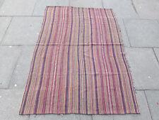 Old Tribal Nomadic Hand Made Persian Oriental Pink Wool Jajim Kilim 170x120cm