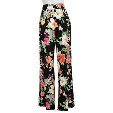 RALPH LAUREN Black Floral Stretch Viscose Jersey Wide Pants 3X