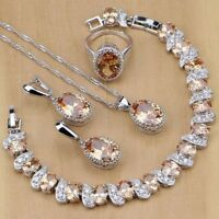 Jewelry Set Champagne Morganite 925 Sterling Silver Oval Premium Wedding Gift