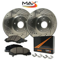 [FRONT KIT] Slotted & Cross Drilled Rotors with Ceramic Pads & Hardware Kit