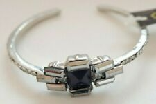 Silver Coloured Metal Bracelet - Bangle - Black Faux Gem - Diamantes - DesignSix