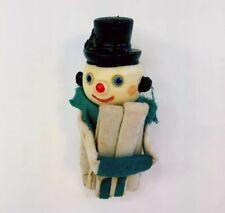 Vtg Christmas Snowman Knee Hugger Elf Shelf Sitter Top Hat Felt Ornament Rare