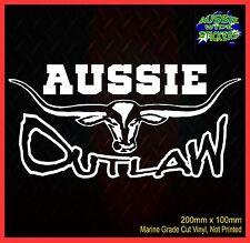 AUSSIE OUTLAW Aus Flag BNS Country 4x4 Ute Car Stickers 200mm