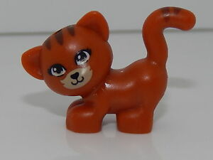 Lego Animal Dark Orange Cat Black Nose and Mouth and Brown Stripes Pattern