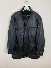 Mens Vintage MD GANT Fleece Lined Long Real Leather Jacket Coat Black UK Size XL