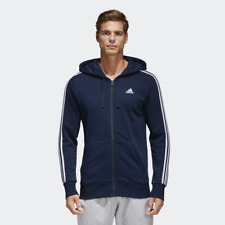 Adidas Essential Mens 3-Stripes Hoodie Navy with White Stripes All Sizes BNWT