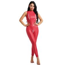 Adult Red Skinz Costume Lycra Bodysuit Devil Santa Fancy Dress Outfit