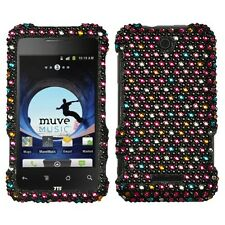 For ZTE Score X500, Crystal Diamond BLING Hard Case Phone Cover Rainbow Dots