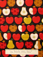 Apple Pear Slices Stripe Country Black - Timeless Treasures Cotton Fabric YARD