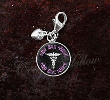 925 Sterling Silver Charm Bad Ass Nurse Medical Symbol Caduceus