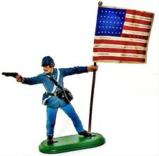 Civil War Toy Soldiers Britains Union 104th NY Regimental Flag Bearer 1/32 New