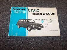 1979 Honda Civic CVCC Wagon Owner Owner's Manual User Guide Book 1300 1500