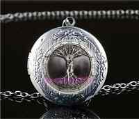 Love Tree Of Life Photo Cabochon Glass Tibet Silver Locket Pendant Necklace