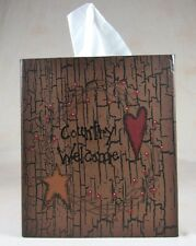 Primitive Country Welcome Square Tissue Box Cover Red Heart Mustard Star