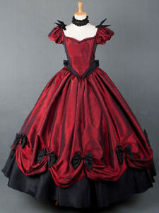 Victorian Gothic Vintage Red Short sleeve Bows Ball Gown maxi prom party dresses