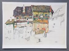 Egon Schiele Lichtdruck Collotype 50x36 Alte Häuser Krumau 1914 Old House Signed