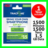 Tracfone TRIPLE SIM card with $125 Plan 1 Year 1500 Min/Text/MB Data on ATT GSM
