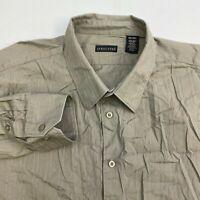 Structure Button Up Shirt Mens 2XL XXL Tan Long Sleeve 100% Cotton Stripe Casual
