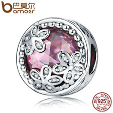 Bamoer European .925 Sterling Silver Charm With Pink CZ Fit Bracelets Jewelry
