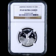 NGC PF 69 UCAM 2009 Mexico 1/4 QUARTER OZ SILVER LIBERTAD PROOF Coin MILKY SPOTS