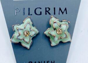 Pilgrim 14 carat Rose Gold plate enamel Stud earrings Swarovski Crystal $12