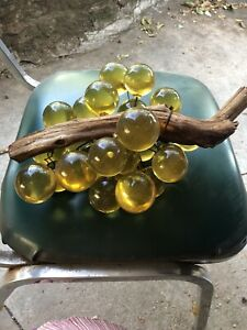 Hand Blown Glass Grapes On Driftwood Vintage