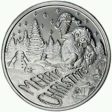 """2016 """"Merry Christmas"""" Abominable Snowman, 1 Troy Ounce .999 Fine Silver Round!"""