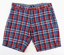 BROOKS BROTHERS Red Fleece Men's 35 Red & Blue Plaid Casual Cotton Preppy Shorts