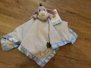 New Disney Baby Winnie The Pooh EEYORE blue Satin Security Blanket Lovey plush