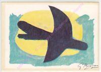CARTE POSTALE ART TABLEAU BRAQUE Oiseau bleu jaune blue  yellow bird