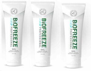 NEW Biofreeze Professional Gel 4 Oz Tube - Pack of 3 Green