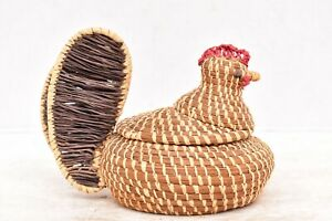 VTG Coushatta Native American Indian Turkey Basket Lidded Figural Pine Needle