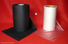 10m x 30cm Black Embroidery Stabiliser Backing & 10m x 20cm Water Soluble Solvy