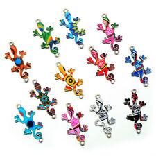 10PCS Wholesale Mixed Gecko Connectors Charms Pendants Tibetan Silver Jewelry