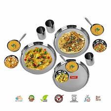 15 Pcs Stainless Steel Dinner Serving Set Buffet Plate Bowl Glass & Spoon