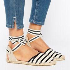 Soludos Women's classic stripe tie strap espadrille sandal Size 9 black tan
