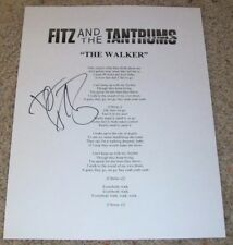 FITZ AND & THE TANTRUMS SIGNED AUTOGRAPH THE WALKER LYRICS SHEET B w/PROOF