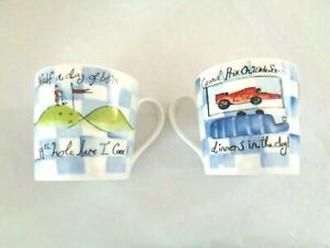 UNUSED PAIR OF GOLF GRAND PRIX THEME FINE BONE CHINA MUGS BY ROSE OF ENGLAND