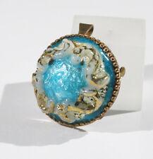 Vintage Limoges France Pin Brooch Pendant Enamel Blue Gold Cameo signed LA