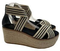 Tory Burch Frieda Size 9.5 50MM Espadrilles Wedge  Black Elastic Straps Sandals