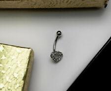Gold Heart Navel Ring, Jewlery for Women, 14k White Gold Belly Ring- N435-157