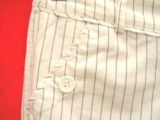 White Pinstripe Cotton capri Cropped Trousers long City shorts Peddle pushers XS