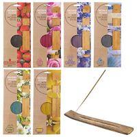 60 Wooden Incense Sticks & Holder Set Burner Ash Catcher Fragrance Scents Gift