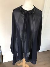 CRAFTED SHEER CHIFFON STUDS BLOUSE SHIRT  Size 8 Lagenlook - Oversized N3