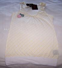 Playboy Ladies Yellow White Stripe Badges Sleeveless Singlet Top Size 6 Marked